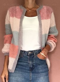 FloryDay / New Year Sale Jul Round Neckline Color Block Casual Loose Shift Sweaters Chunky Knit Cardigan, Loose Sweater, Latest Fashion For Women, Latest Fashion Trends, Asymmetrical Sweater, Pulls, Ideias Fashion, Knitwear, Sweaters For Women