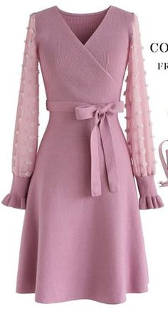 There You Go Wrap Knit Dress in Pink - Retro, Indie and Unique Fashion Unique Fashion, Look Fashion, Womens Fashion, Cute Dresses, Short Dresses, Cute Outfits, Knit Dress, Wrap Dress, Robes Glamour