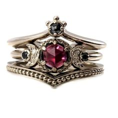 Victorian engagement rings - Black Diamond And Garnet Crown and Moon Engagement Ring Set Gothic Victorian Fine Jewelry – Victorian engagement rings Victorian Jewelry, Gothic Jewelry, Vintage Jewelry, Victorian Ring, Luxury Jewelry, Gothic Clothing, Antique Jewellery, Black Diamond Jewelry, Garnet Jewelry