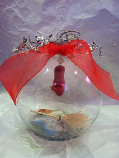 Wizard of Oz ornament glass ball Dorothy Ruby by WildKards on Etsy