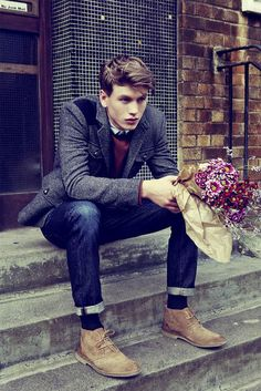 great suede boots, classic tweed jacket & sweater with jeans