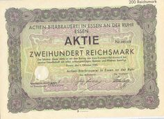 Essen Actien-Bierbrauerei Aktie 200 RM 1930