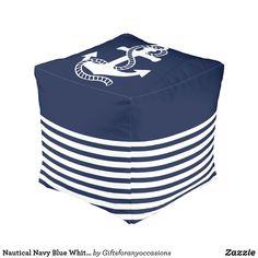 Nautical Navy Blue White Stripes and White Anchor Pouf Navy Blue, Blue And White, Anchor, Nautical, Living Spaces, Stripes, Cottage, Patio, Beach