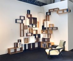 """There is part of me that says if I did modular shelving it would end up like this. :/  """"Veneered plywood edged with polished walnut, cherry, cedar and elm. Lacquered black and white MDF.  Limited series of 12 examples.  Italy 2005, realised in 2007.""""  Martino Gamper"""