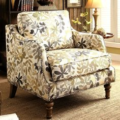 Leaf Design Living Room Upholstered Accent Chair with Nailhead Trim