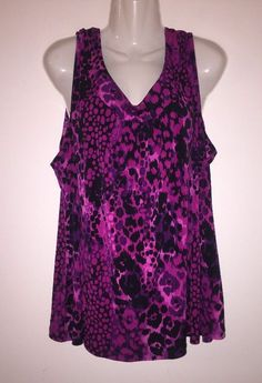 69896854b1e Just My Size 4X Plus Womens Sleeveless Fuschia Animal Print Blouse TankTop  26 28