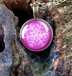 Snowflake pendant Glass necklace Star pink necklace Small round winter necklace Christmas gift Handmade bronze jewelry Christmas presentwww.iceworks.etsy.com