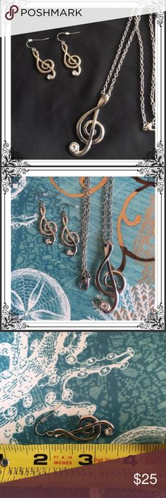 Nickel Free Silver Music Note Necklace/Earring Set Brand new boutique item! Nickel Free Silver Necklace and Dangle Earrings . Jewelry