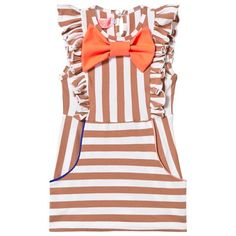 Bang Bang Copenhagen Brown Stripe Chelsea Frill Front and Bow Dress