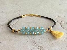 Crystal beaded bracelet Bohemian tassel bracelet Beaded
