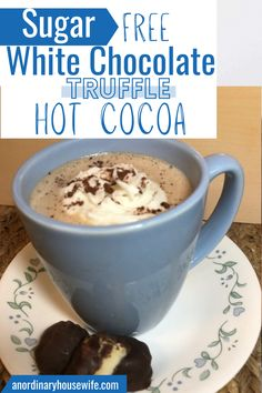 This decadent hot chocolate is like the hot cocoa made with Lindor truffles, except it's sugar free, keto and THM S compliant. Trim Healthy Mama S hot chocolate. Low Carb hot cocoa. Made with homemade truffles using Lily's chocolate chips.