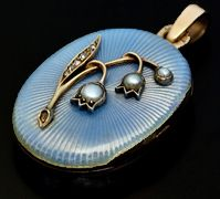 Faberge guilloche enamel jewelry - antique Peter Carl Faberge Lily of the Valley locket with pearls