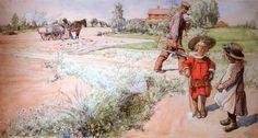 """Esbjorn and the Farmer's Girl"" by Carl Larrson"