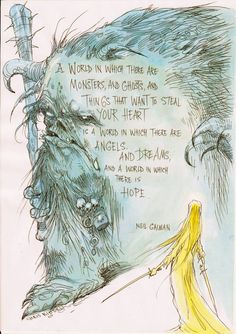 Illustration by Chris Riddell and quote from Neil Gaiman.