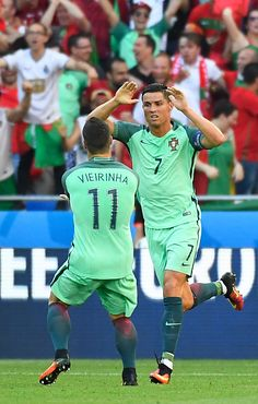 #EURO2016 Portugal's forward Cristiano Ronaldo celebrates after scoring a goal during the Euro 2016 group F football match between Hungary and Portugal at the...