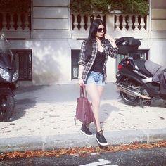 Denim shorts + black v neck + black checkered shirt