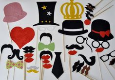 Mustache on a Stick 41 Pc Wedding Photo Booth Party Props Glasses Mustaches on a Stick Bow Tie and Neck Tie Photo Booth Party Props, Baby Shower Photo Props, Baby Shower Photos, Wedding Photo Booth, Wedding Photos, Wedding Ideas, British Party, Mustache Party, Wedding Glasses