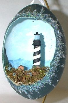 Decorated Emu Egg Large Cape Hatteras Lighthouse by annimae182, $125.00