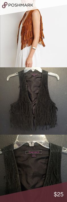 F21 BLACK faux suede fringe boho vest Forever 21 BLACK faux suede fringe boho hippie vest, some wear as shown/great for nights out and festivals ✨ s/m Forever 21 Tops