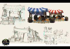 Twin Blades by Mickael Balloul, via Behance ✤ Bg Design, Prop Design, Game Design, Environment Sketch, Environment Design, Background Drawing, Animation Background, Medieval Market, Building Art