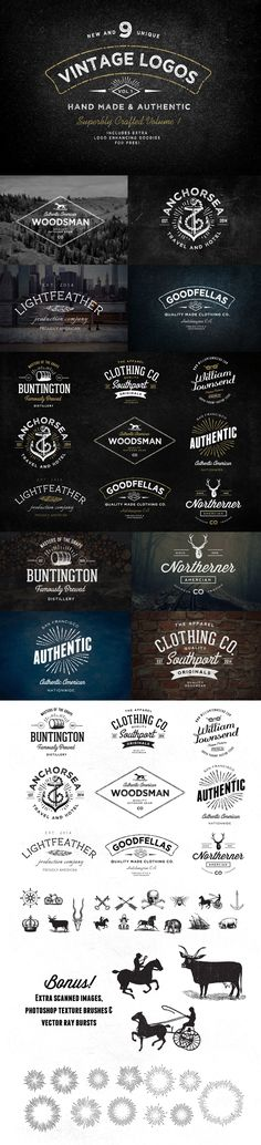 Vintage Logo Bundle von Nicky Laatz, via Behance - Design! Hipster Design, Hipster Logo, Typography Logo, Graphic Design Typography, Branding Design, Lettering, Design Agency, Web Design, Design Homes
