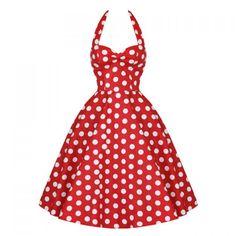 Vintage Halterneck Backless Polka Dot Print Ruffled Sleeveless Women's Dress