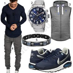 Gray-blue men's outfit with longsleeve, cargo pants and vest – – Holidays Casual Fall Outfits, Stylish Outfits, Men Casual, New Look Fashion, Autumn Fashion, Mode Man, Neue Outfits, Herren Outfit, Longsleeve