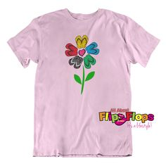 Our Flip Flop Flower Short Sleeve Crew Neck T-Shirt is a 100% Gildan – Heavy Cotton™ (or similar) relaxed fit t-shirt.