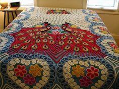 Vintage Cotton Chenille 2 Peacock Bedspread - Double / Queen Size Peacocks Chenille Bedspread