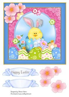Easter Bunny Egg Card Front  on Craftsuprint designed by Sharon Vieira - Easter card front sheet with decoupage flowers and 2 sentiment banners, one of then blank for your own greeting. Approx. 7x7 in. - Now available for download!