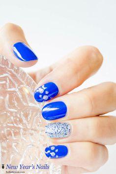 nail art Capodanno blu e silver