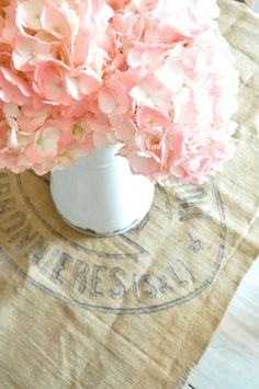 French burlap grain sack table runner with pink hydrangeas