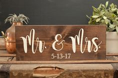 Mr and Mrs sign Wedding date sign Wedding sign Custom wedding sign Newlyweds Just married Wedding present Gift for couple Custom wedding by CoastandCane on Etsy https://www.etsy.com/listing/504929449/mr-and-mrs-sign-wedding-date-sign