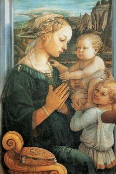 Fra Filippo Lippi (Italian Renaissance painter, c 1406–1469) also called Lippo Lippi, Madonna and Child Enthroned with 2 Angels c 1437