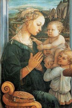 Fra Filippo Lippi (Italian Renaissance painter, c 1406–1469) also called Lippo Lippi, Madonna and Child Enthroned with 2 Angels c 1437