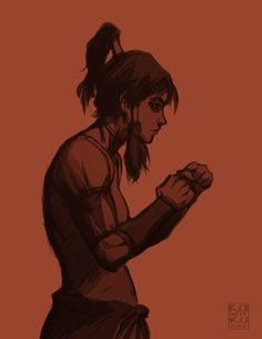 Bryan Konietzko:   DUKES UP  EDIT: I caught a note that pointed out this pose isn't good form for fighting. You are correct, sir/madam/other! You wouldn't want to be this square to your opponent, unless perhaps you were trying to draw he/she/other in to engage. This started as a study from a photo of a female fighter in a pre-fight staredown pose, where the only criteria is looking like a badass.