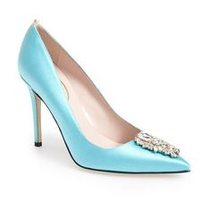 SJP by Sarah Jessica Parker Women's SJP 'Tempest' Pointy Toe Pump (8,660 MXN) ❤ liked on Polyvore featuring shoes, pumps, blue satin, sjp shoes, blue satin pumps, handcrafted shoes, blue pointed toe pumps and blue evening shoes