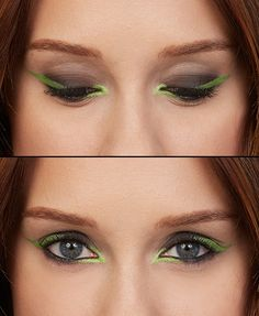 Go bold with this lime green eye shadow tutorial! Here's how to get this edgy and trendy winged eyeliner look.