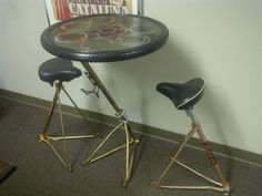 Hand built Bicycle Frame Table and Bar-stool Set (recycled bike parts). $325.00, via Etsy.
