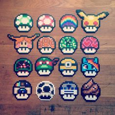 The theme for tomorrows workshop is now set. Come craft some shrooms with me between Hama Beads Mario, Diy Perler Beads, Pixel Art Templates, Perler Bead Templates, Fuse Bead Patterns, Perler Patterns, Geek Perler, Hama Art, Art Perle