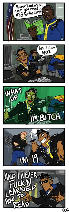 Based on this vine because I always felt like it exuded Butch energy Fallout 4 Cait, Fallout Funny, Fallout New Vegas, Fallout Comics, Fallout Art, Funny Images, Funny Pictures, Funny Comic Strips, Butches