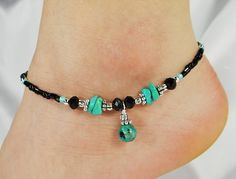 Anklet, Ankle Bracelet, Turquoise Blue Black Semi Precious Beaded Anklet Gift for Her, Cruise Jewelry, Wedding, Beach Vacation Ankle Jewelry