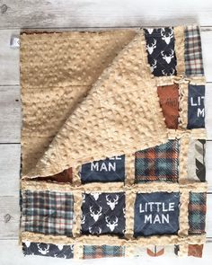 Sewing Men Projects Little Man Rag Quilt in Rust and Denim Blue - Baby Boy Quilt Patterns, Baby Rag Quilts, Nursery Patterns, Boy Quilts, Flannel Rag Quilts, Plaid Quilt, Crochet Patterns, Tissu Minky, Minky Fabric