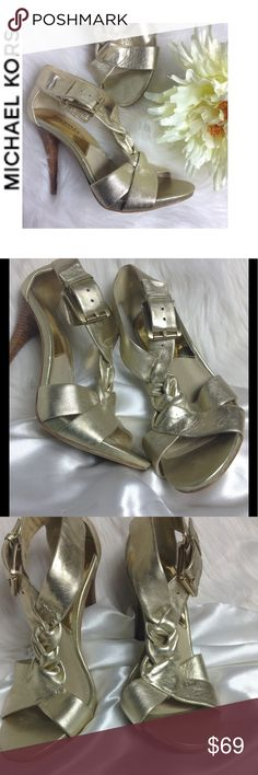 Michael Kors Heels Michael Kors Heels 🔳 stunning gold metallic sandals, with wood heels, excellent used condition, a few minor hardly noticeable flaws 🔳 size 6m, ▪️accepting readable offers Michael Kors Shoes Heels