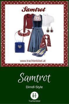 Weinrot und Blau in diesem traditionellen Dirndl-Style - großartig!