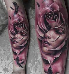 rose head woman, tattoo