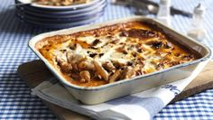 BBC Food - Recipes - Penne and sausage pasta bake Baked Pasta Recipes, Chicken Pasta Recipes, Savoury Recipes, Sausage Recipes, Freezable Recipes, Sausage Meals, Bbc Good Food Recipes, Baking Recipes, Aga Recipes