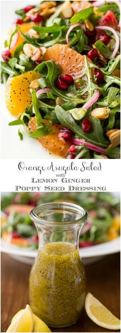 Orange Salad with Lemon Ginger Dressing Arugula Orange Salad with Lemon Ginger Salad Dressing - this bright, fresh salad is loaded with delicious seasonal produce. It's sure to chase away the winter blues! Healthy Recipes, Healthy Salads, Healthy Eating, Cooking Recipes, Simple Recipes, Ginger Salad Dressings, In Season Produce, Le Diner, Soup And Salad
