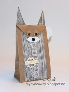 One of 24 Mixed Media Kraft bags for an advent calendar. Created as a DT for Hobbykunst, The paper bag fox is made from paper from Papirdesign. Made by Kirsten Hyde.