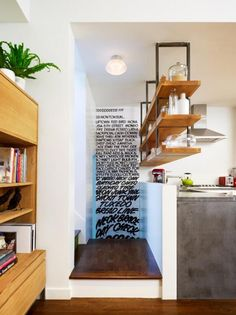 OPen shelving with LIP - Concrete Counters with Suspended Shelving above - modern - kitchen - new york - General Assembly Ikea Design, Design Room, House Design, Interior Design, Design Interiors, Suspended Shelves, Hanging Shelves, Floating Shelves, Display Shelves